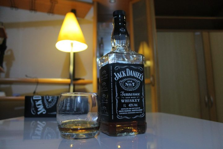 Whiskey bottle at home