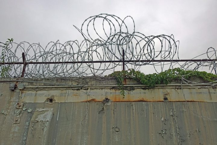 Razor wire on a prison fence