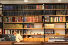 Book shelves in a library