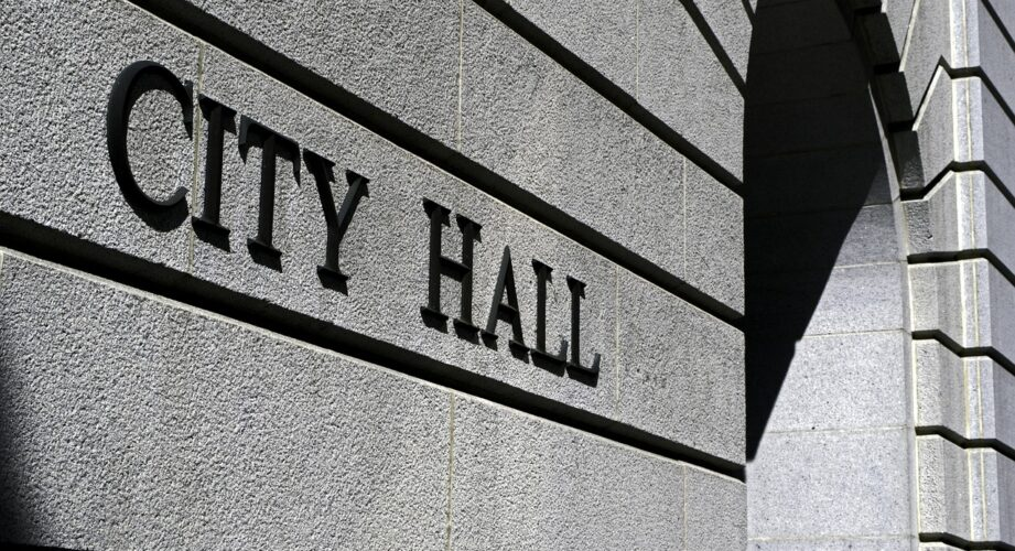 City Hall sign on a building