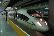 High speed train in station