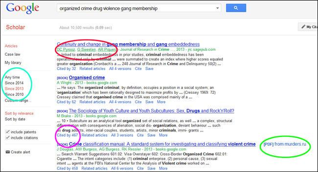 google scholar research topics