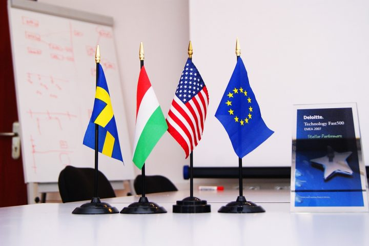 International flags on display