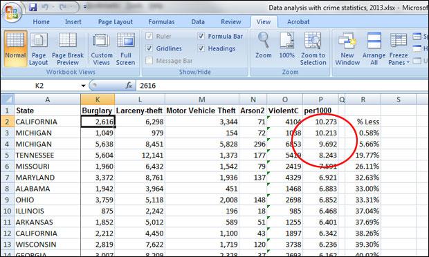 Screenshot crime data