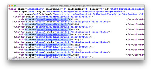 Web page source code