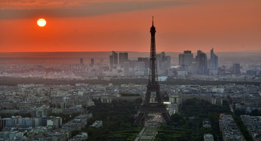 Sunset view of Paris and Eiffel tower