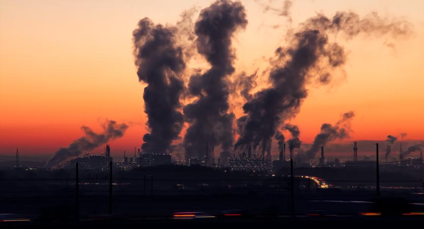 Industrial skyline in sunset