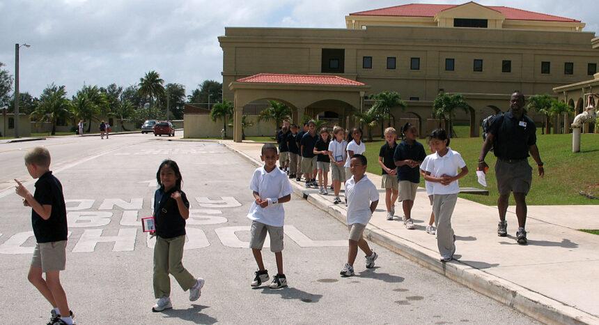 Students wearing school uniforms
