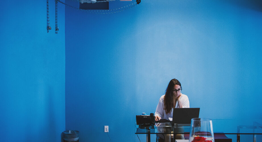 Woman in office without windows
