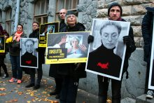 A memorial for Russian journalist Anna Politkovskaya
