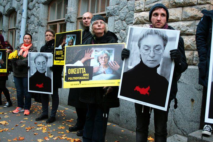 A memorial for Russian journalist Anna Politkovskaya