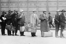 Immigrants at Ellis Island, c. 1900 (Library of Congress)