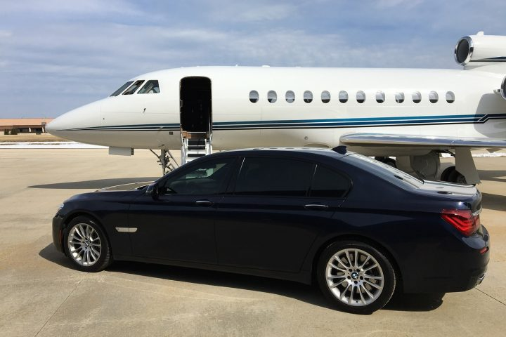 private jet and BMW
