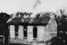 A synagogue burned during Kristallnacht in Ober-Ramstadt, Germany, 1938 (U.S. Holocaust Memorial Museum)
