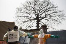 Ebola burial team disinfecting