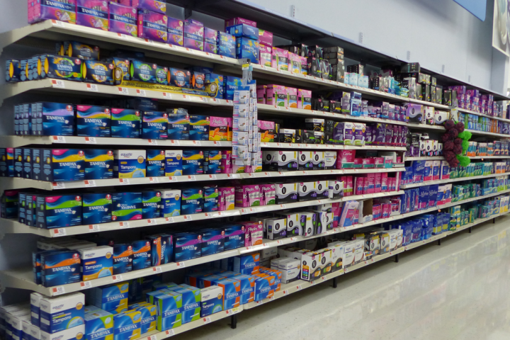 Feminine hygiene products on the shelves of a store