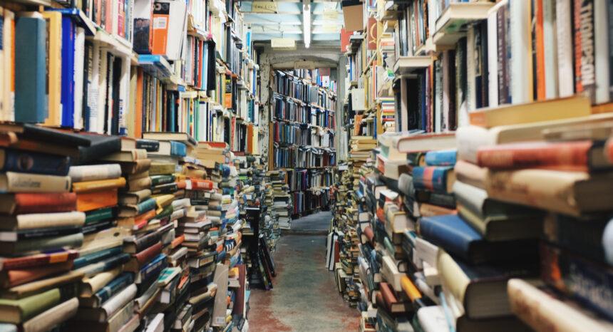 Library shelves of books