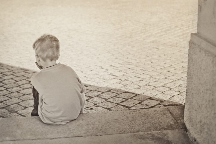 child on step