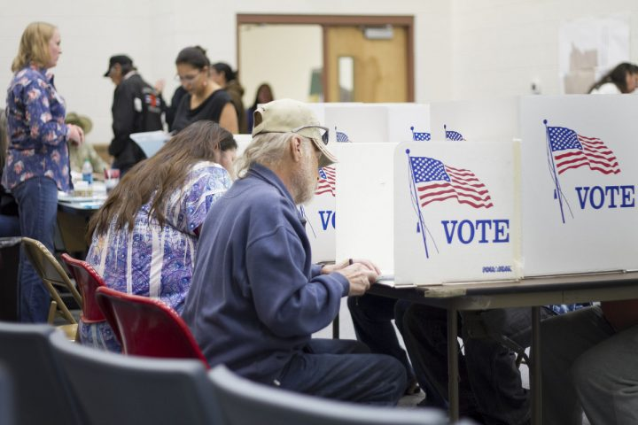 Voters cashing ballots