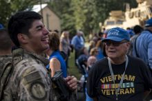 Veterans interacting at an event