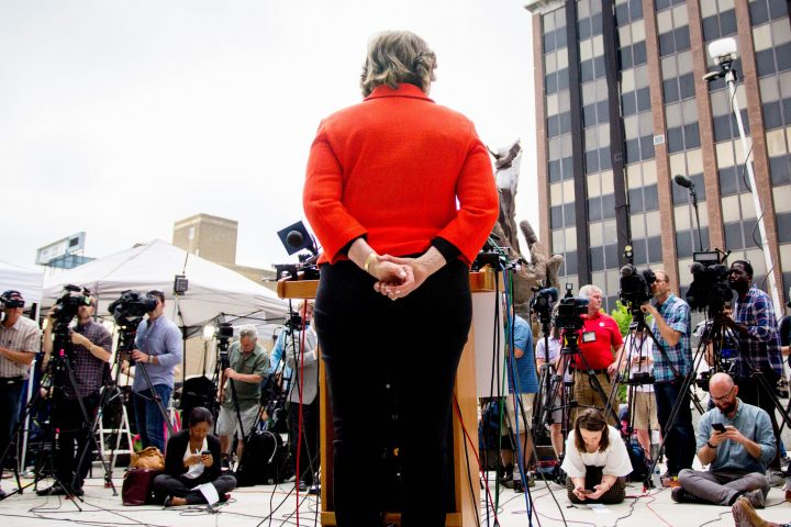Attorney Gloria Allred speaks to the media outside Bill Cosby's sexual assault trial, 2017.