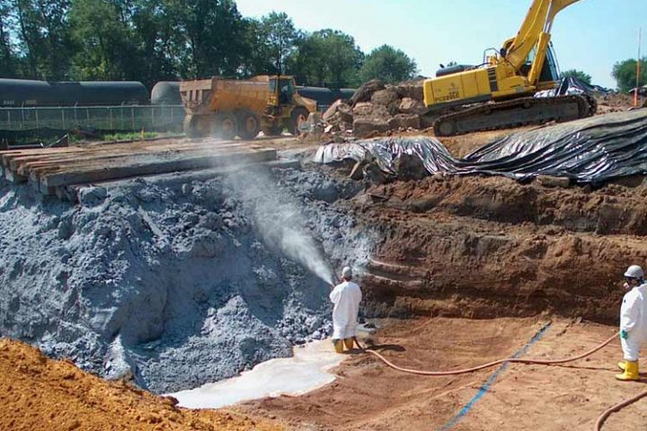 Soil excavation and cleanup at a Superfund site