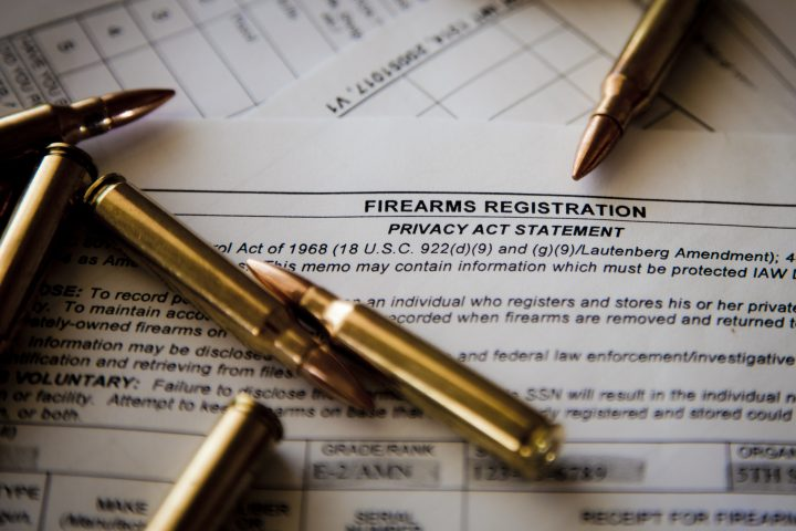 Gun cartridges and firearms registration form