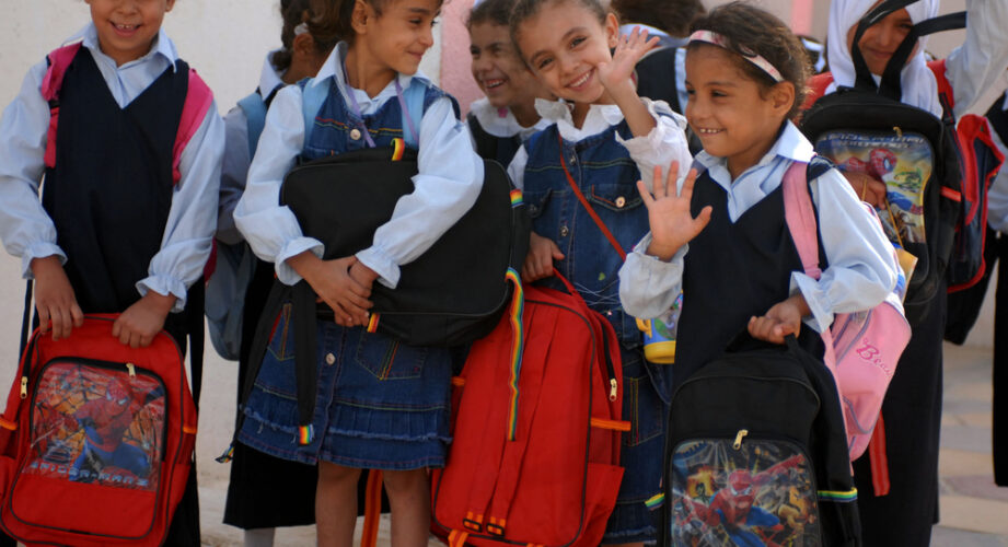 Children wearing school uniforms