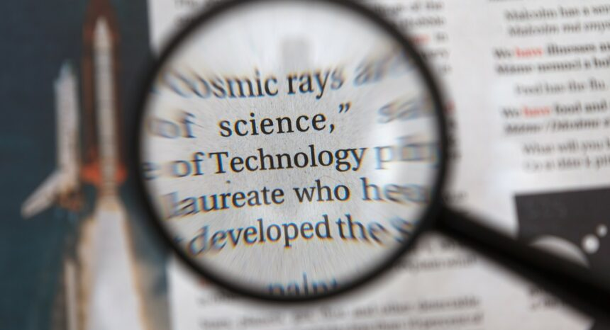 magnifying glass over text