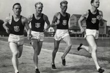 Historic photo of the USC men's relay team training