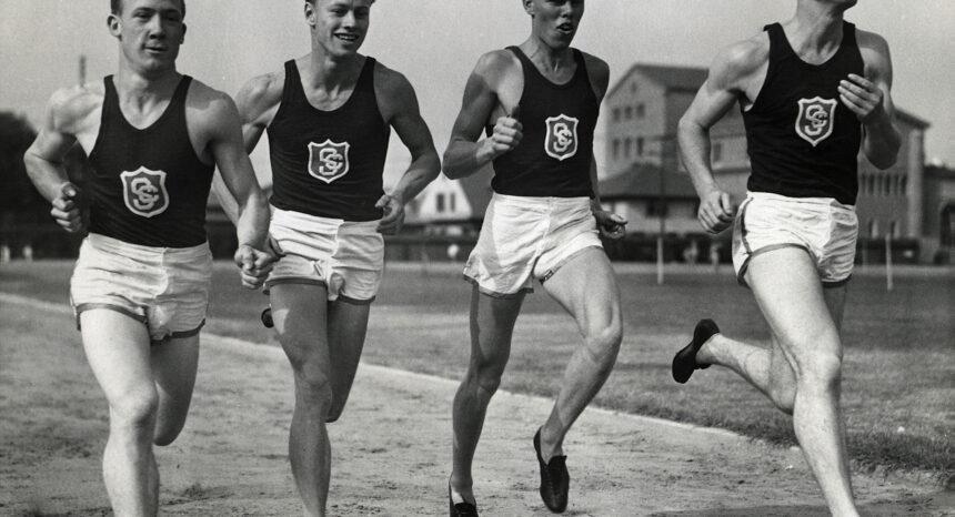 Historic photo of the USC men's relay team training
