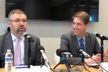Journalist Garrett Graff, right, and Shorenstein Center Director Nicco Mele, left.
