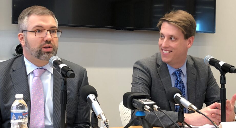 Journalist Garrett Graff, right, and Shorenstein Center Director Nicco Mele, left.