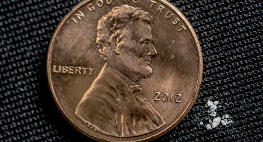 Photo illustration of 2 milligrams of fentanyl, a lethal dose in most people / DEA