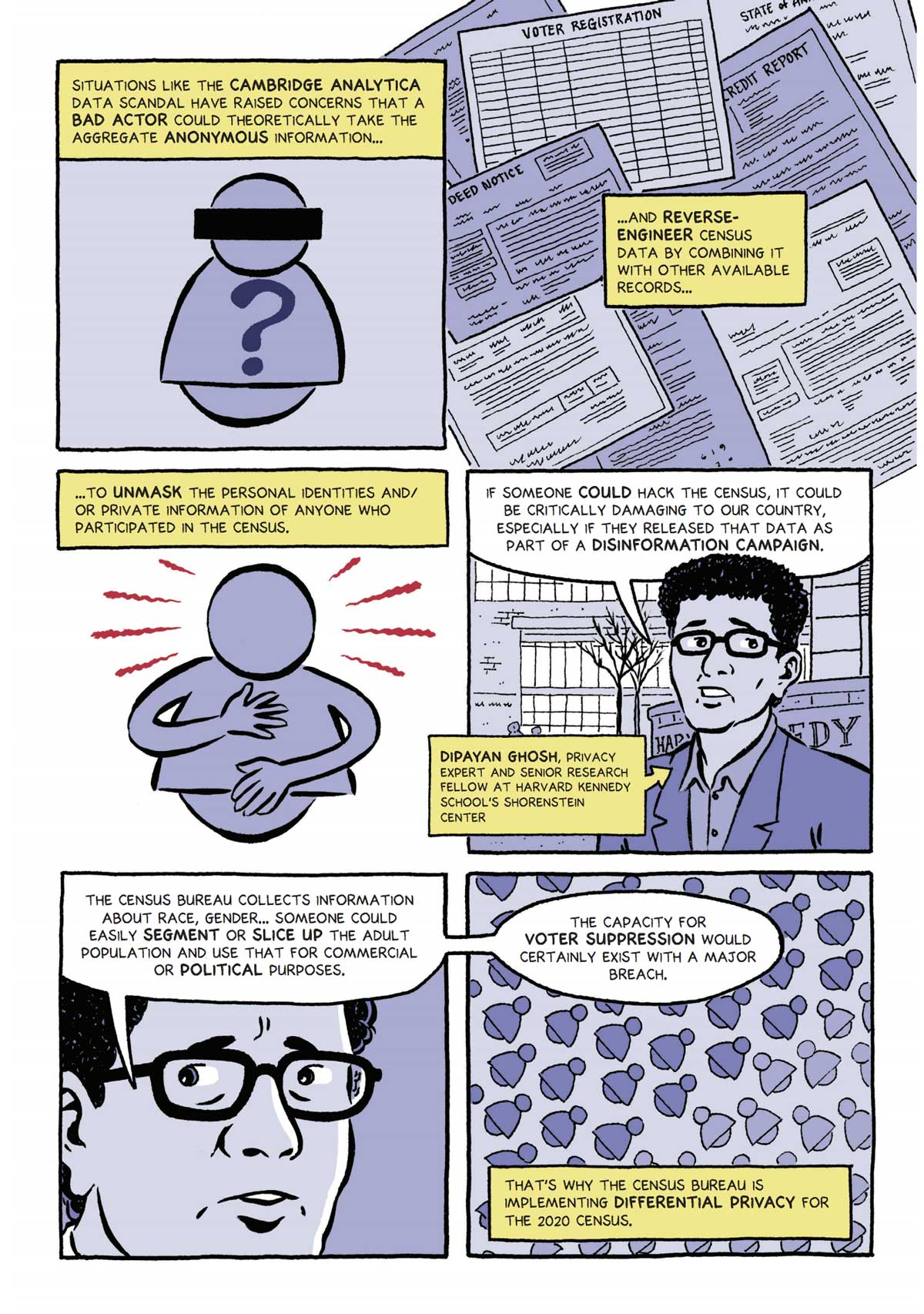 differential privacy explainer 2020 census comic
