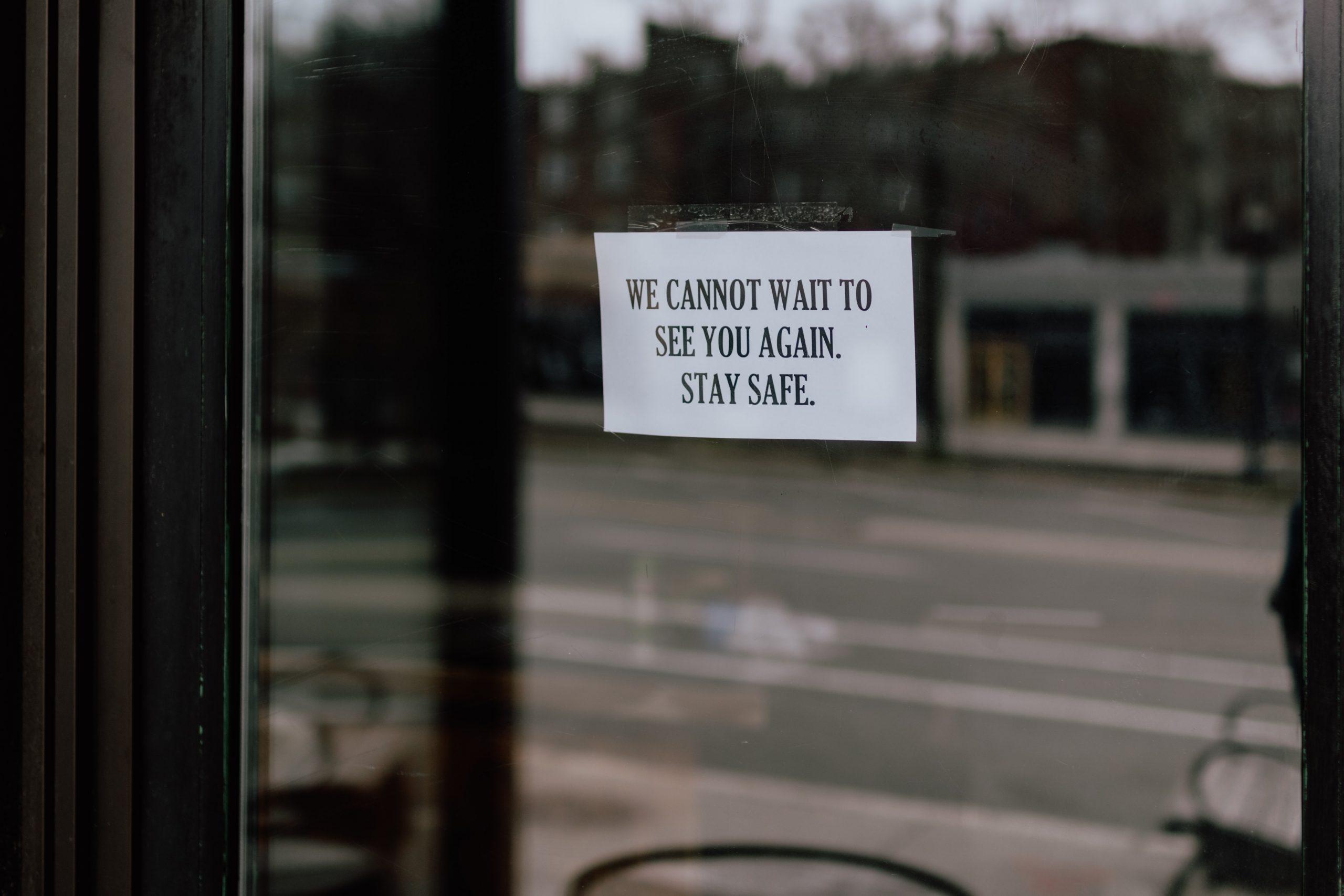 Sign on shop door.
