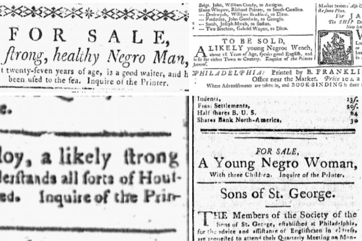 Newspaper slavery ads.