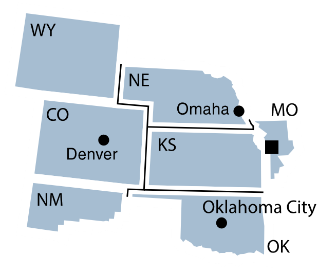 Federal Reserve District 10 map.