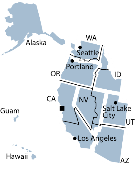Federal Reserve District 12 map.